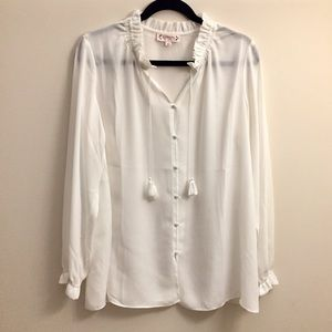 Nanette Lepore Off White High Pleated Neck Blouse